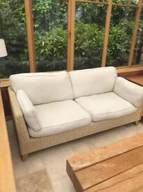 Wooden frame wicker sofa