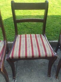 Set of 5 Dark Wood Dining Chairs