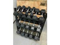Brand New 10 Pair Hex Dumbbell Set with Rack (2.5 - 25kg) *275kg*