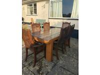 Handmade Sleeper Garden Table & 6 Carver Chairs