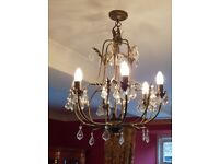 Ceiling light and 4 matching wall lights. Black/antique gold with crystal pendants