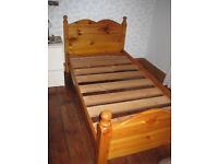 Antique style single pine bed frame hand made