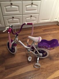 "Girls 12"" Raleigh bike with stabilisers £30"