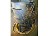 Shot sand blasting setup complete pot compressor chilled iron container helmet nozzles etc