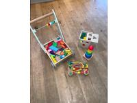 Baby Toddler Toys Wooden, Toddle Truck, Shape Box, Stacking rings & Bead maze.