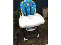 GREAT FISHER PRICE HIGH CHAIR LIE BACK VGC