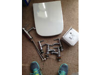 STILL SEALED BRAND NEW WHITE SQUARE TOILET SEAT AND BRAND NEW MIXER TAP