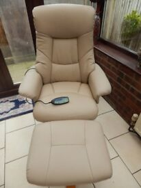 LEATHER RECLINER SWIVEL MASSAGE CHAIR AND FOOT STOOL