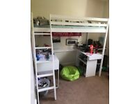 ikea high sleeper (loft) bed with built in desk and separate shelving