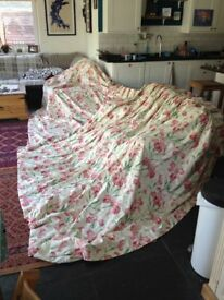 Home made long, floral curtain