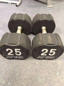 Pair of 25kg Jordan Ignite Premium Rubber Dumbbells,Commercial gym equipment