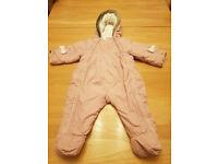 Jaspar Conran Baby's Pink Hooded Pram/Snowsuit Size 6 to 9 months Exc. Cond