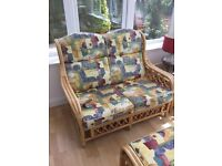 FREE LOCAL DELIVERY Cane Conservatory Suite, Sofa, Chairs, Footstool and Table