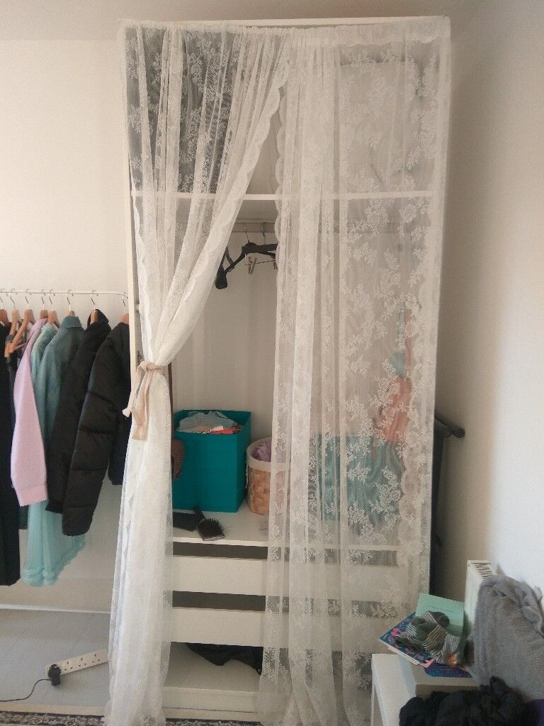 White Ikea Pax Wardrobe With Net Curtains Bargain Price