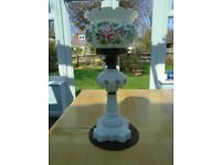 White china and brass Victorian lamp with attractive floral decoration to the base and shade.