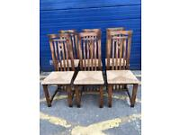 SET OF SIX VINTAGE PINE DINING CHAIRS - ANTIQUE VINTAGE RETRO