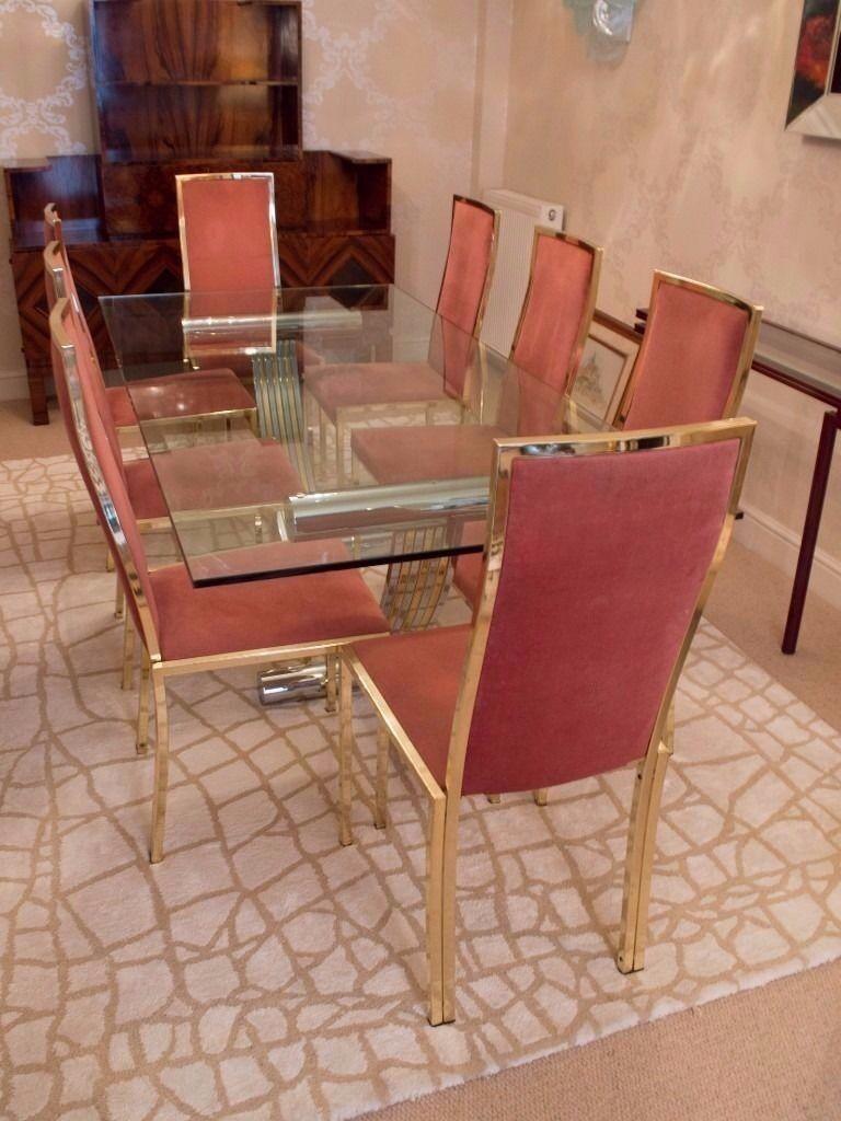 italian 1970's chrome & brass dining tablerenato zevi sold