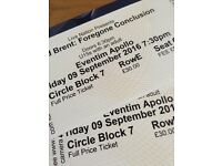 2 x tickets. David Brent - Foregone Conclusion. Friday September 9th. Circle, Row E.