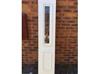 New upvc door side panel bevelled leaded glass