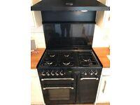 Rangemaster 90 cooker, black including splash back and extractor hood light, great condition