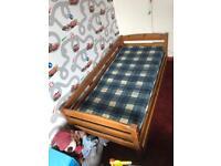 Solid pine junior/toddler single bed & mattress