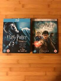 Harry Potter years 1-6 Blu ray and deathly hallows DVD