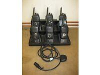 6 used 2-way Radio Vertex Standard Walkie-Talkies Licence Free c/w 6-berth charger