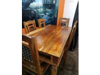 Indian sheesham wood dining table and six chairs