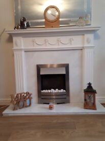Gorgeous white mantlepiece and Satin silver fire