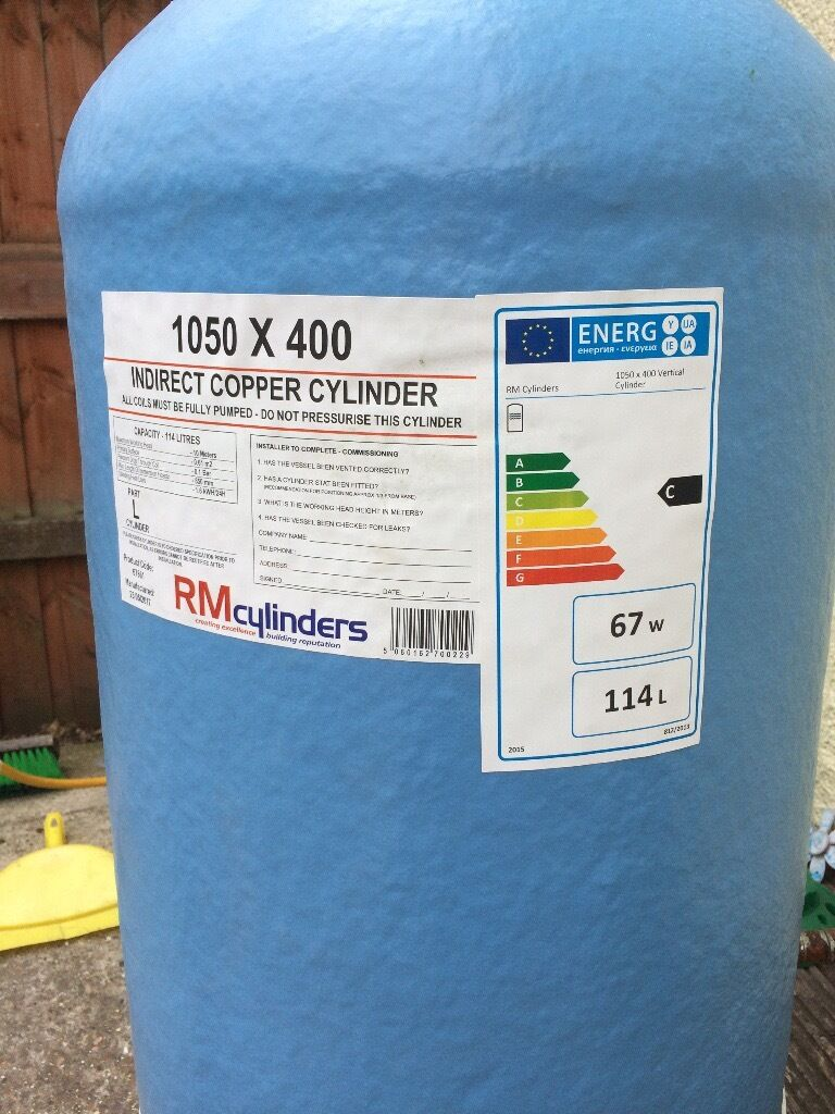 RM Indirect Copper Cylinder 1050 x 400 used for 1 week + Drayton ...