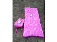 Girls pink camo sleeping bag in rucksack