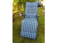 blue folding recling garden chair