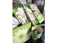 Green next lamp and canvas pictures