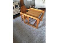 Child's Pine Highchair Table and Chair