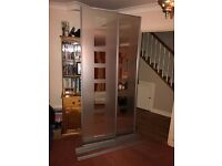 Mirrored Stainless Steel Effect Sliding Wardrobe Doors Pack of 2 with Tracks (H)2220 mm (W)610 mm