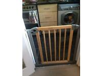 Lindam wooden and grey metal safety gate
