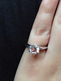 Brand new 1ct created diamond ring with a platinum overlay, size m, promise / engagement ring
