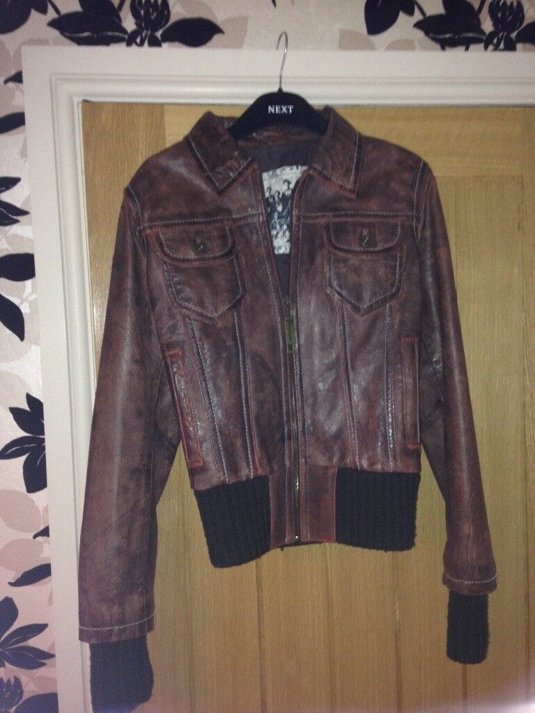 Leather Jacket for sale - Brown bomber jacket style
