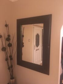 2x brown leather mirrors