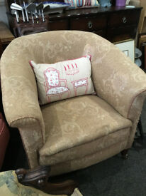 Charming Antique Victorian Heavy Padded Tub Armchair