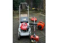 Lawnmower, Blower and strimmer