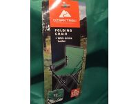 3 green outdoor camping chairs with cup holder