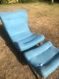 Turquoise Chair & Footstool