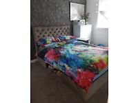 Velvet Double divan with drawers and mattress