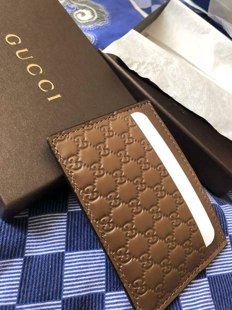 8a73b874f994 Brand New Official Gucci Cardholder Wallet Genuine For Men and Women - Brown