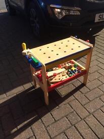 Children's wooden workbench