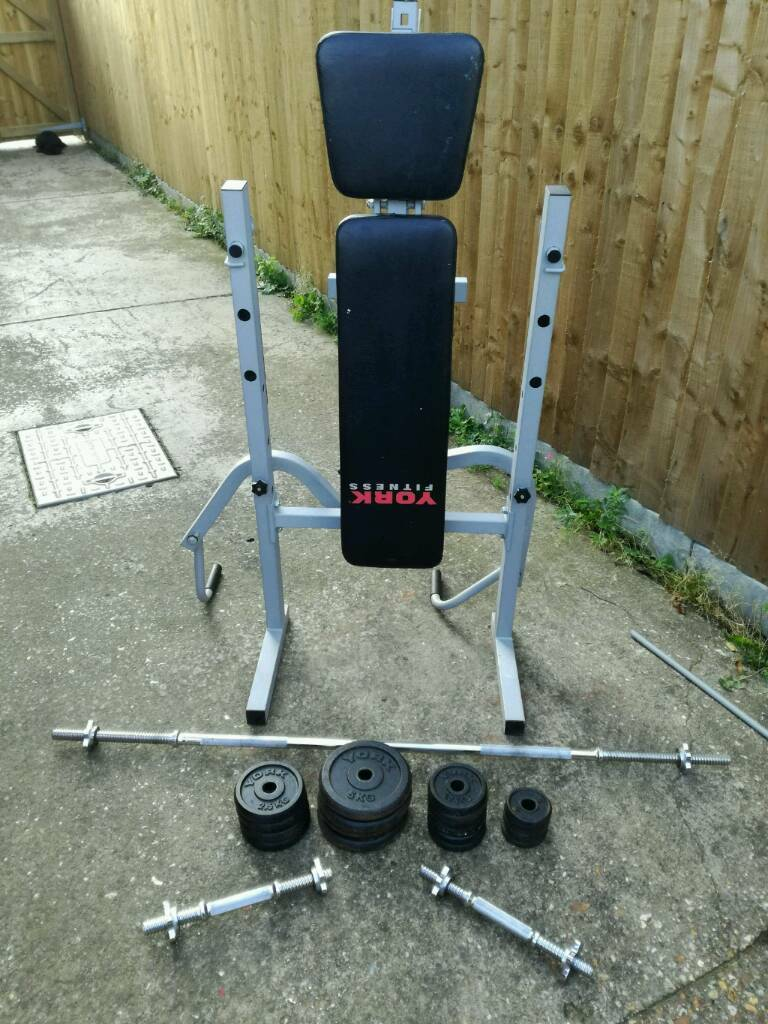 York weight bench plus weights