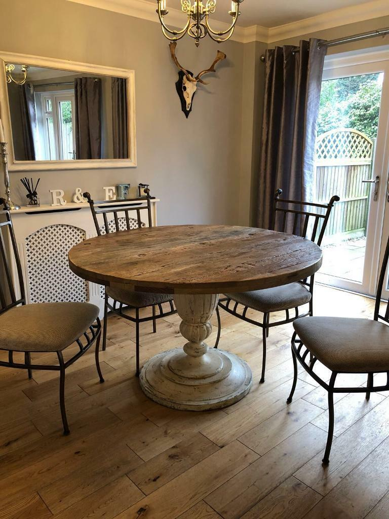 Solid Oak Round Dining Table 6 Seater Amp Chairs In