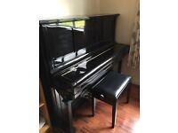 Yamaha U2 Piano in stunning high gloss black complete with matching piano stool.