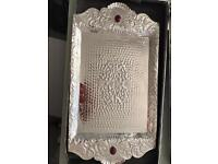 Hand made silver serving tray